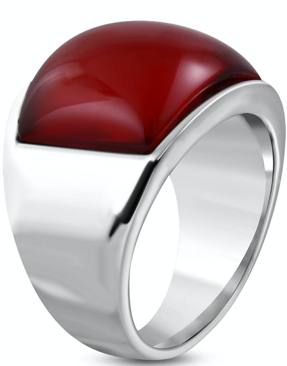 Silverfärgad Stålring med Röd Fyrkantig Sten 70dfe62e5b63a